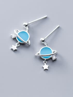 925 Sterling Silver With Platinum Plated Simplistic Round Earrings