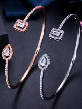 Copper With Cubic Zirconia Simplistic Geometric Free Size Bangles