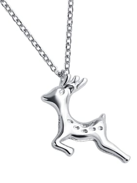 925 Sterling Silver With Cubic Zirconia Cute Animal  Small elk Necklaces