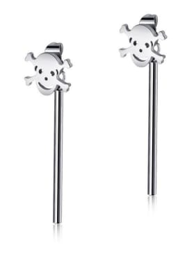 Stainless Steel With Platinum Plated Vintage Smooth Skull Threader Earrings