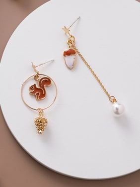 Alloy With Rose Gold Plated Cartoon Pine Cone Squirrel Drop Earrings