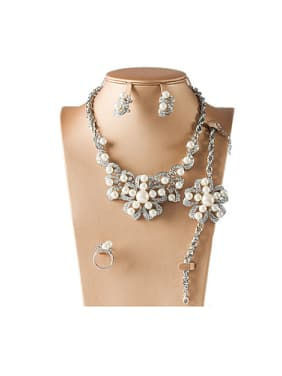 Artificial Pearl Rhinestones Four Pieces Jewelry Set