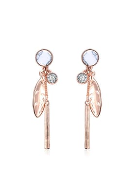 Creative Rose Gold Plated Feather Shaped Turquoise Drop Earrings