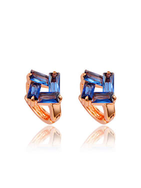 Trendy 18K Rose Gold Plated Blue Square Clip Earrings