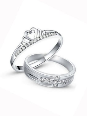 925 Sterling Silver With Cubic Zirconia  Simplistic Crown Loves Free Size  Rings