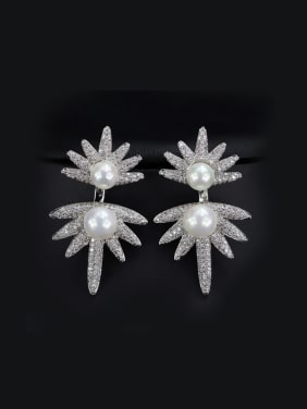Separate Zircons Pearls Cluster earring