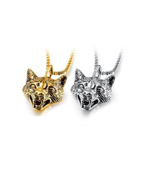 Titanium With Two-Color Plating Personality Animal Lion Head Pendants
