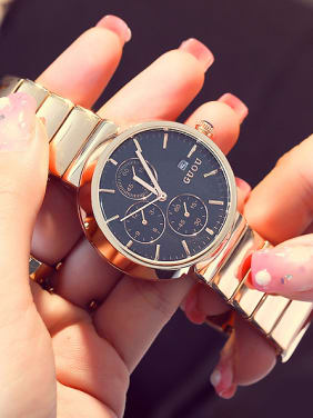 GUOU Brand Fashion Rose Gold Plated Mechanical Watch