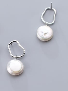 925 Sterling Silver With Platinum Plated Delicate Irregular Drop Earrings