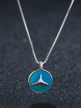 925 Sterling Silver With Platinum Plated Cute Round Blue Fishtail Pendant Necklaces