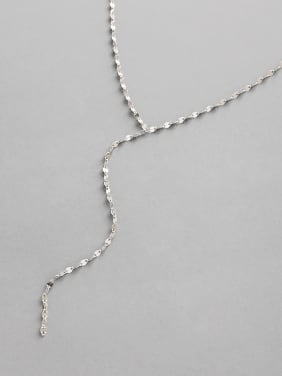 925 Sterling Silver With Platinum Plated Simplistic Tile Chain Necklaces