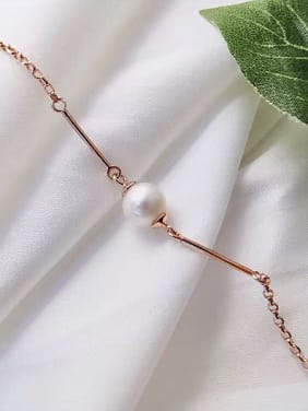Rose Gold Plated Freshwater Pearl Bracelet