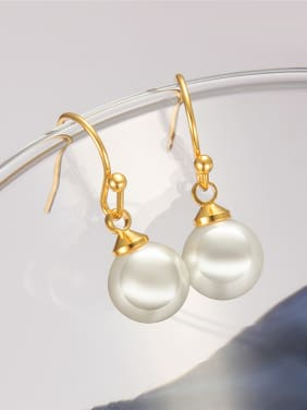 White 18K Gold Plated Artificial Pearl Drop Earrings