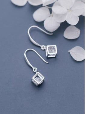 925 Sterling Silver With Platinum Plated Fashion Geometric Hook Earrings