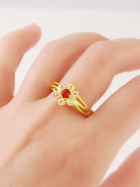 Women Luxury Flower Shaped Red Rhinestones Ring