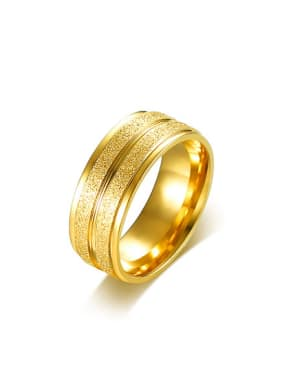 Personality Gold Plated Frosted Titanium Ring