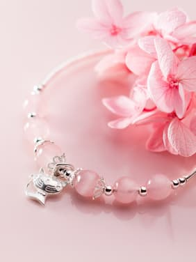 925 Sterling Silver With Platinum Plated Fashion Cat Bracelets
