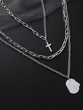 Alloy With Platinum Plated Multi-layered Versatile Detachable Crosns Neclace
