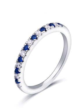925 Sterling Silver With  Cubic Zirconia Delicate Round Band Rings