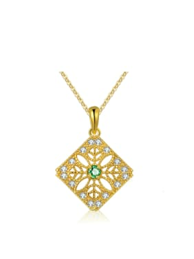 Square Shape Natural Green Micro Pave 14 Gold Plated Necklace