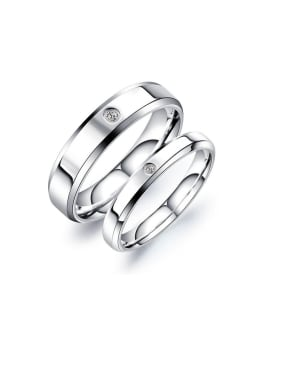 Titanium With White Gold Plated Simplistic Round Band Rings