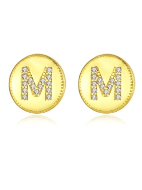 925 Sterling Silver With Cubic Zirconia Simplistic Monogrammed  M Stud Earrings