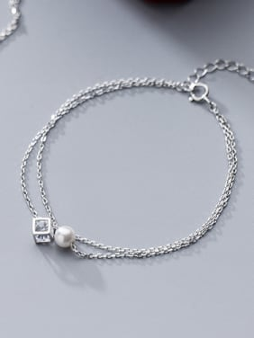 925 Sterling Silver With Platinum Plated Fashion Ball Cube Double chain Anklets