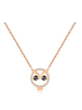 Simple Lovely Owl Rhinestones Titanium Necklace