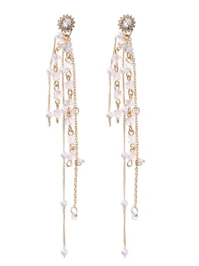 Alloy With Gold Plated Long section multi-layer tassel Charm Drop Earrings
