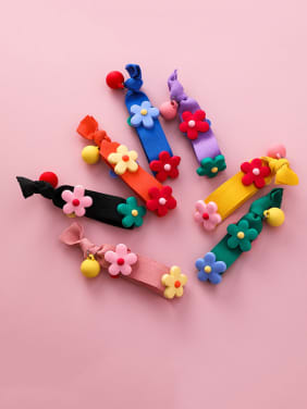 Rubber Band Cut Multicolor Soft Pottery Flower Hair Ropes