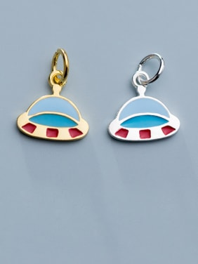925 Sterling Silver With Gold Plated Simplistic Irregular Spaceship Pendants