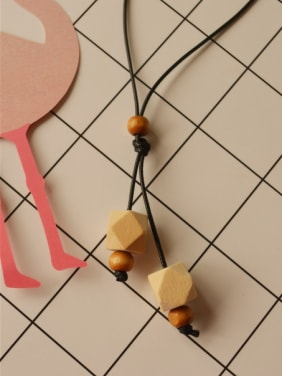 Women Geometric Wooden Beads Necklace