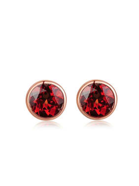 Small Simple Round Garnet Silver Stud Earrings