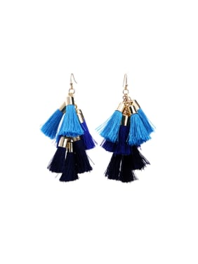 Multi-layer Blue and Black Tassel Drop Chandelier earring