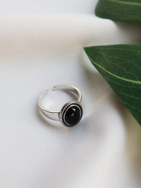 Sterling Silver black agate retro style free size ring