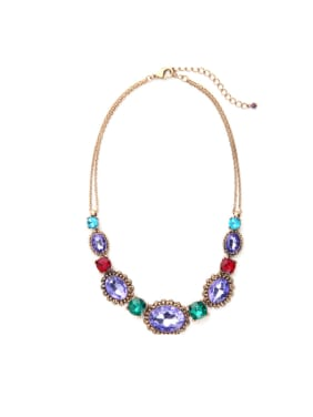 Colorful Color Stones Women Sweater Alloy Necklace