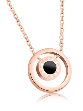 Stainless Steel With 18k Rose Gold Plated Fashion Round Necklaces