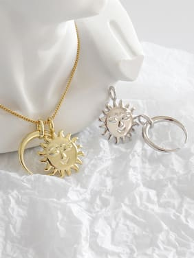 925 Sterling Silver With Platinum Plated Simplistic Sun&Moon Pendants