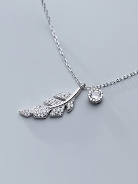 925 Sterling Silver With Platinum Plated Personality Leaf Necklaces