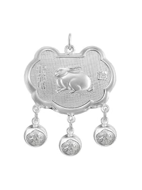 Ethnic style 999 Silver Zodiac Rabbit Children Bells Longevity Lock Pendant