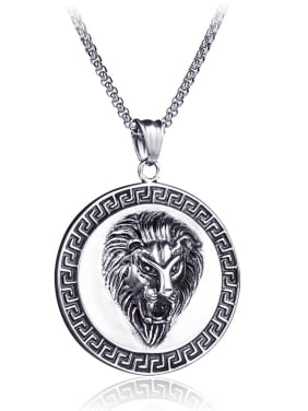 Stainless Steel With Antique Silver Plated Trendy Animal lion's head Necklaces