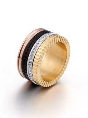 Titanium With 18k Gold Plated Trendy Round Stacking Rings