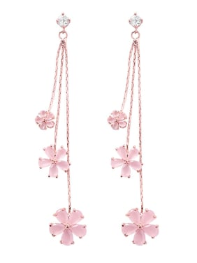 Alloy With Rose Gold Plated Fashion Flower tassel Drop Earrings