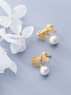 925 Sterling Silver With 18k Gold Plated Delicate Bowknot Stud Earrings