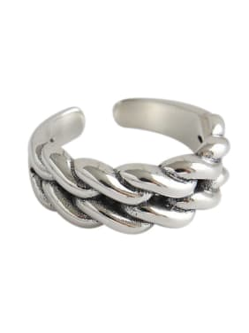 925 Sterling Silver With Antique Silver Plated Twisted Double Twist Free Size Rings