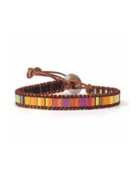 Rectangle Natural Stones Woven Leather Fashion Bracelet