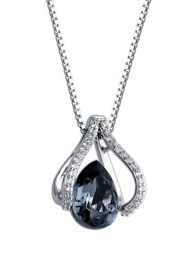 925 Sterling Silver With Crystal  Classic Water Drop Necklaces