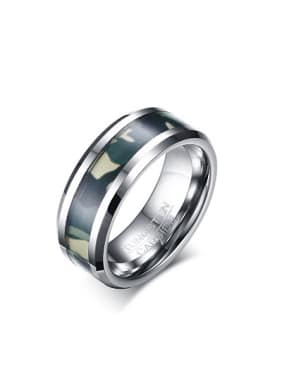Personality Camouflage Pattern Design Geometric Tungsten Ring