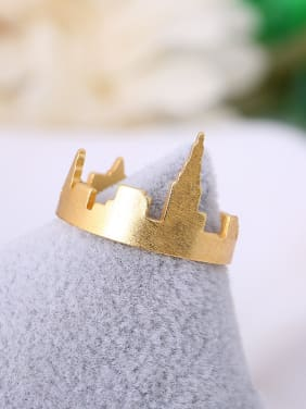 Exquisite 16K Gold Plated Castle Shaped Ring