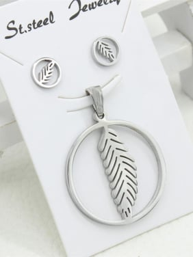 Lovely Round Feather Stud Earrings Pendant Set